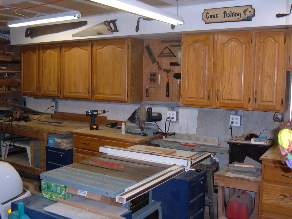Garage storage units from old kitchen cabinets.