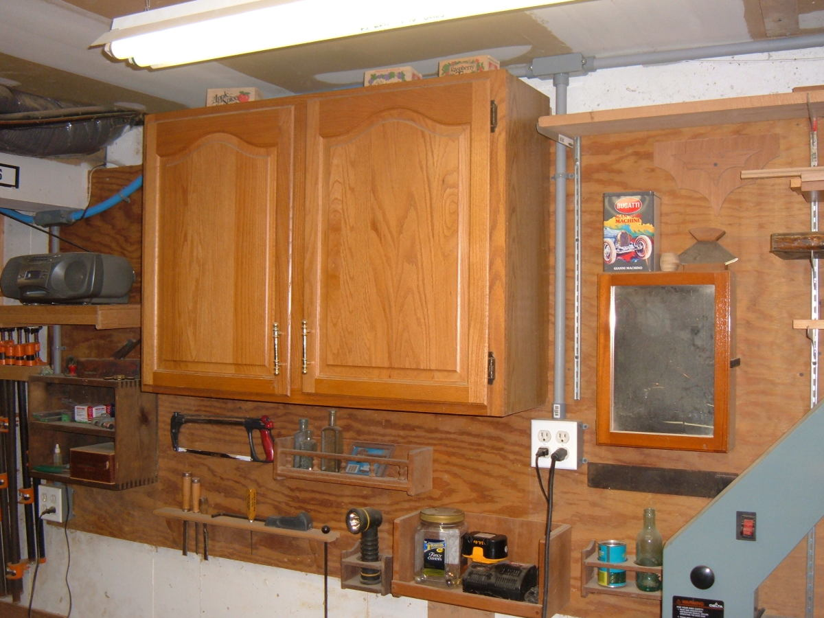 Cabinets secured to the wall.