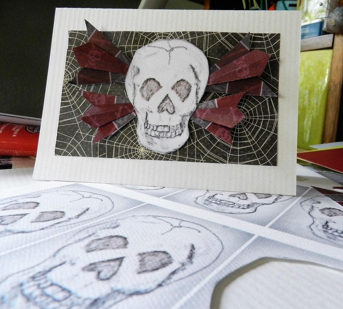 DIY flying skull Halloween card