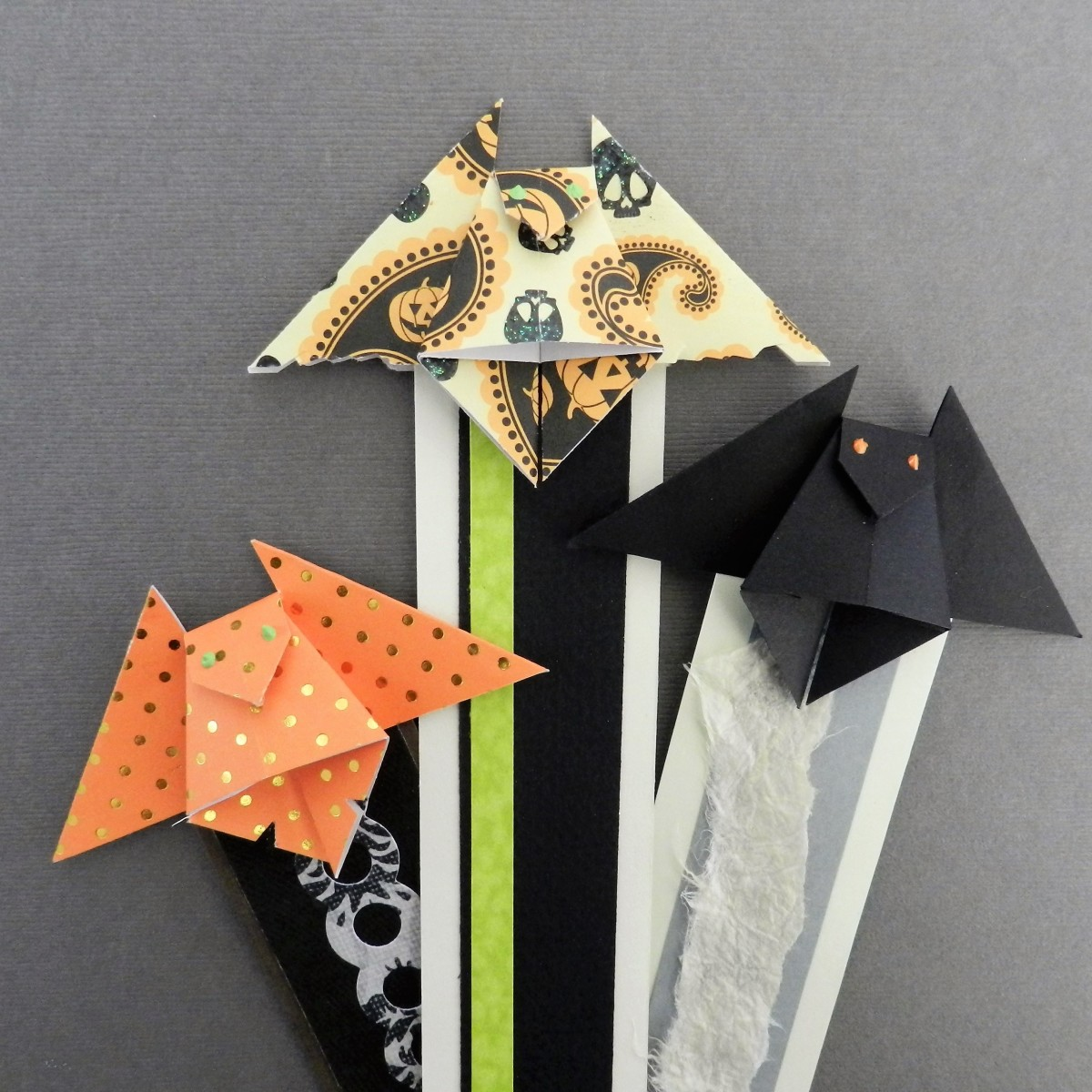 Origami bat bookmarks are a fun and festive Halloween treat—without the calories!