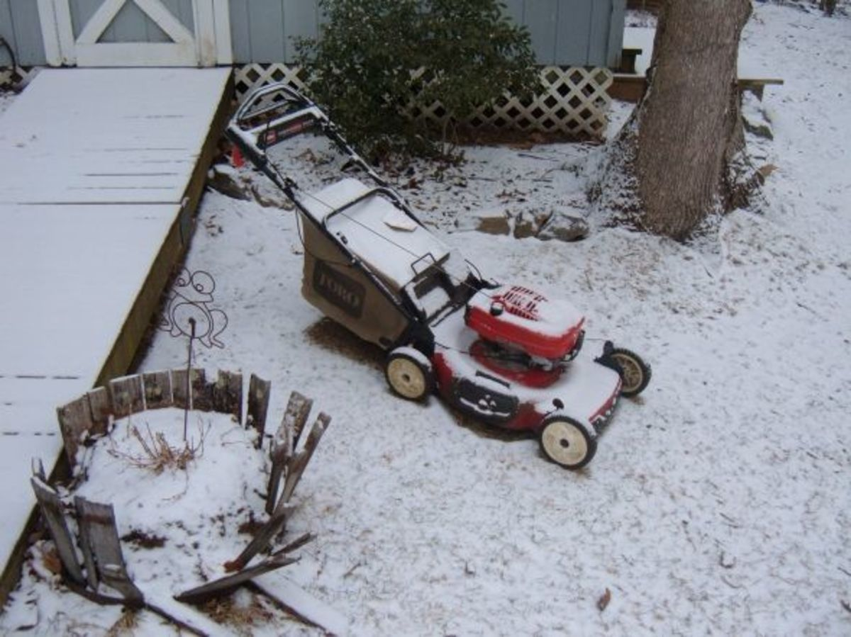This isn't the right way to winterize a lawn mower . . .