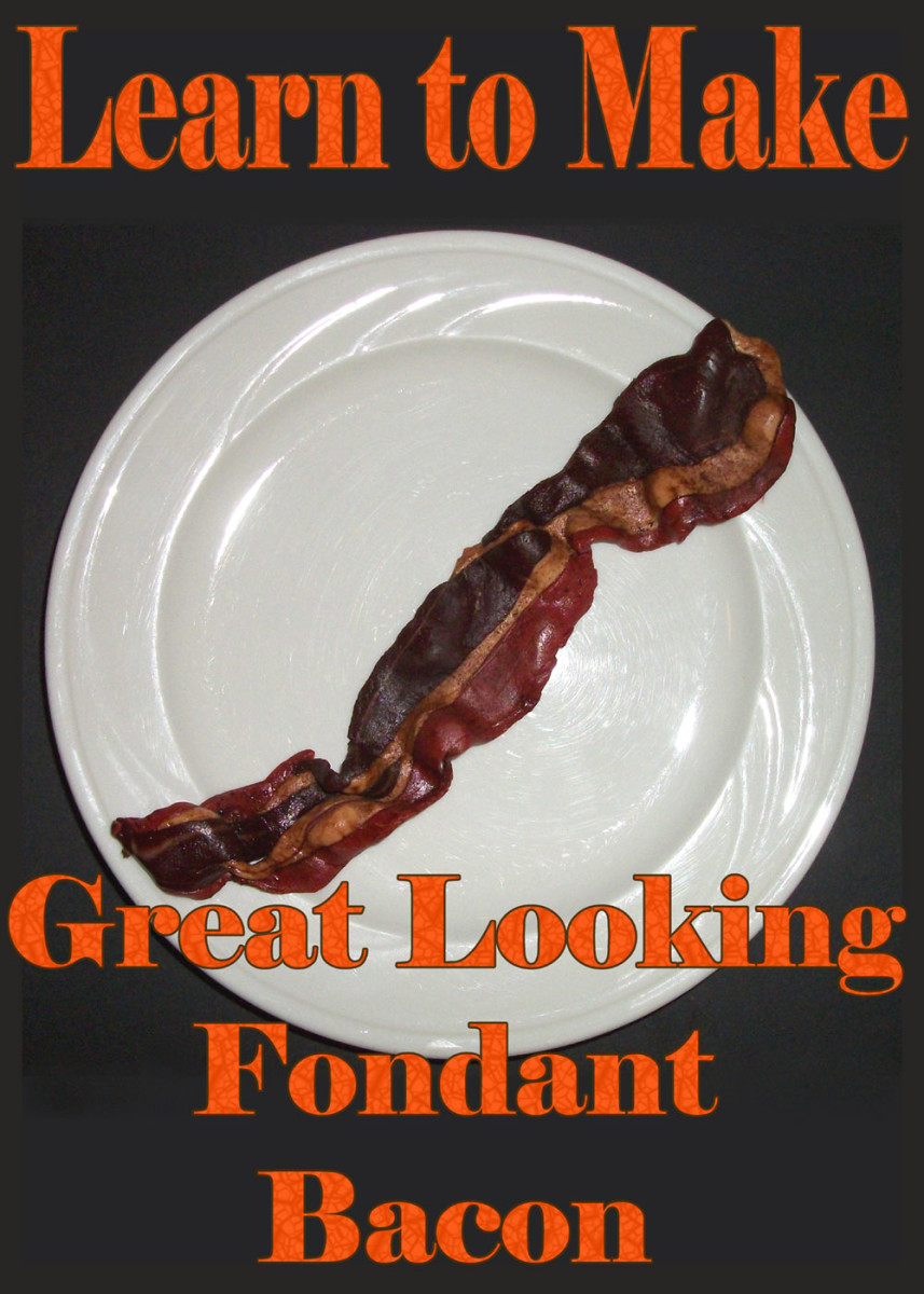Make realistic-looking fondant bacon with these instructions.