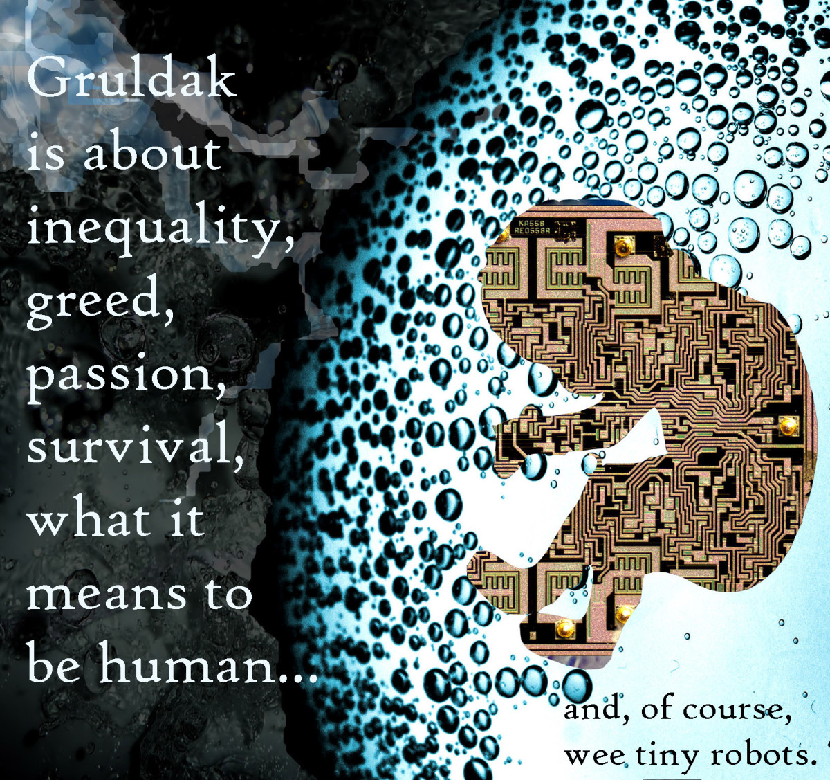 Circuit-board fetus floating in a bubble of carbonated water in space, art for Gift of the Gruldak, a serialized science fiction novel that's free to read online.