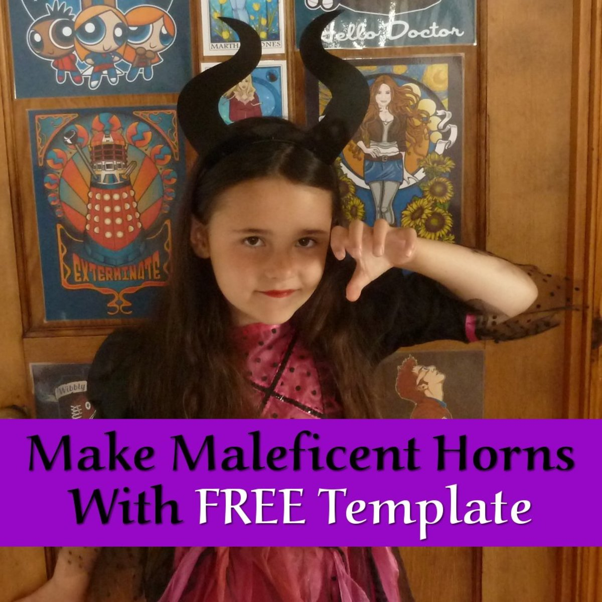 Make some easy and quick DIY Maleficent horns headband with a FREE Template design to use