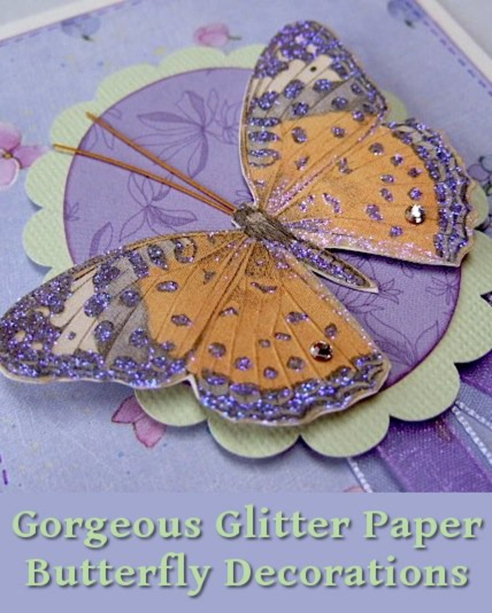 Gorgeous glitter paper butterfly decorations and embellishments for cards and crafts can be made at home.