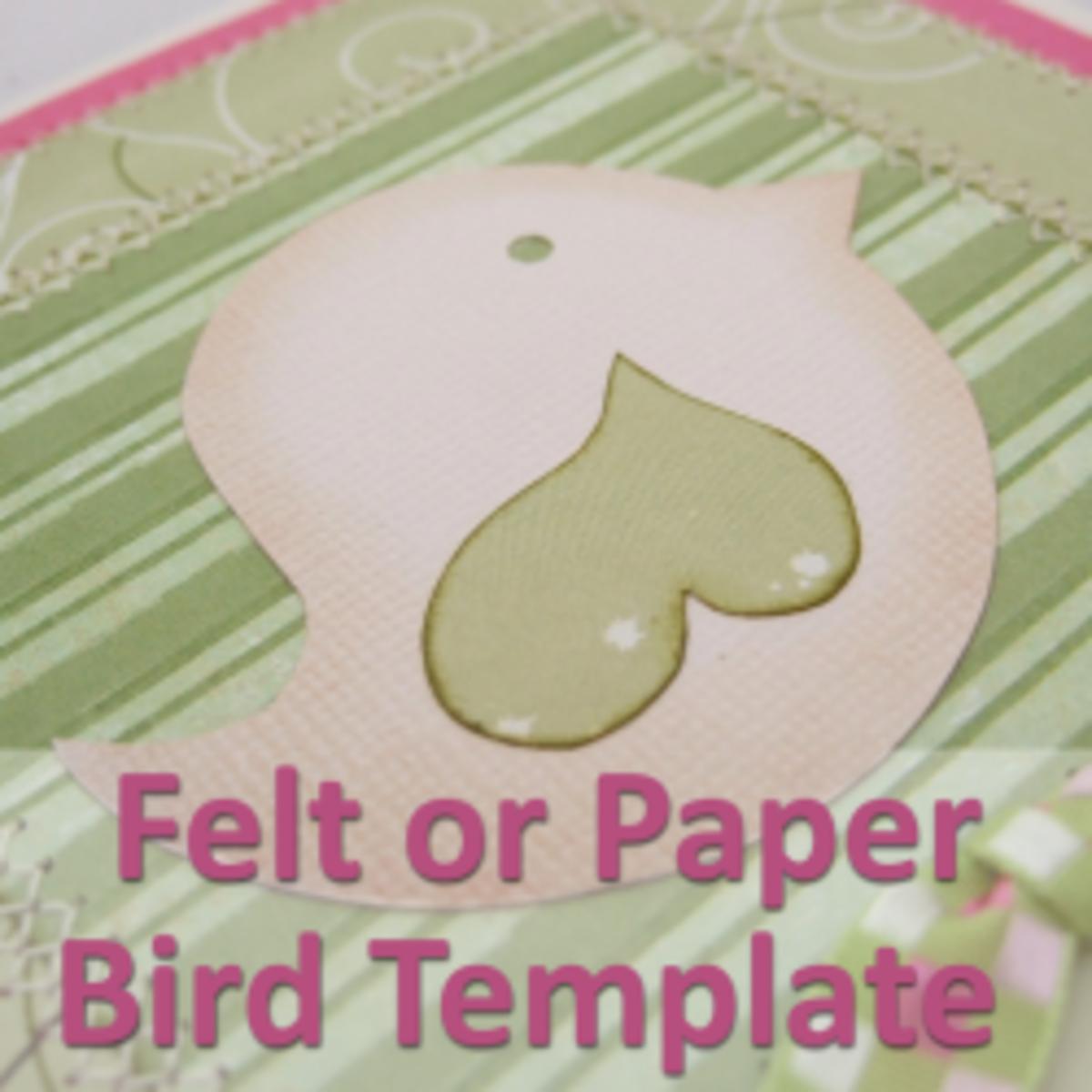 whimsical felt or paper bird template feltmagnet