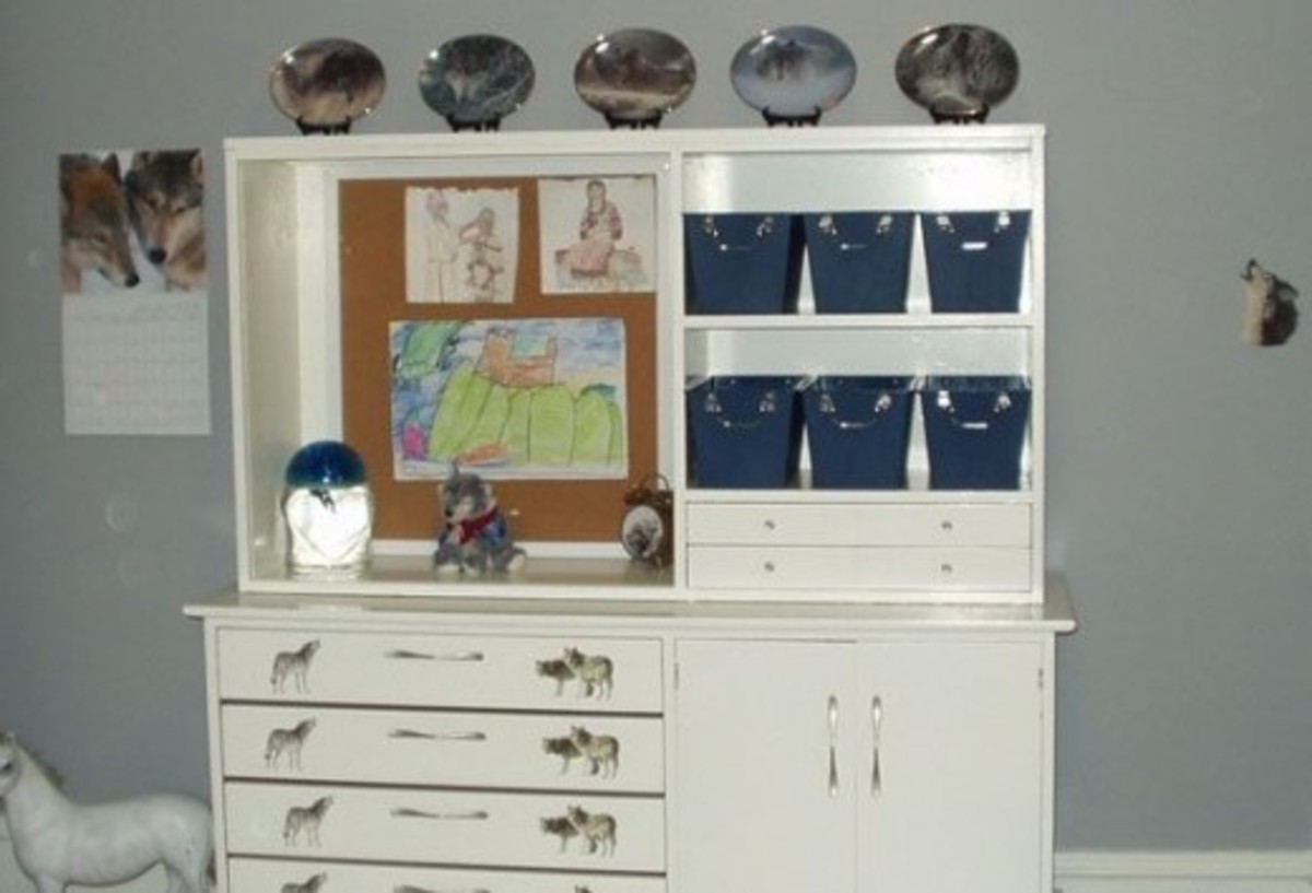 The wolf plate set on the hutch was bought at a local antique store. The wolf decals were ordered online. The blue bins are from a discount store.