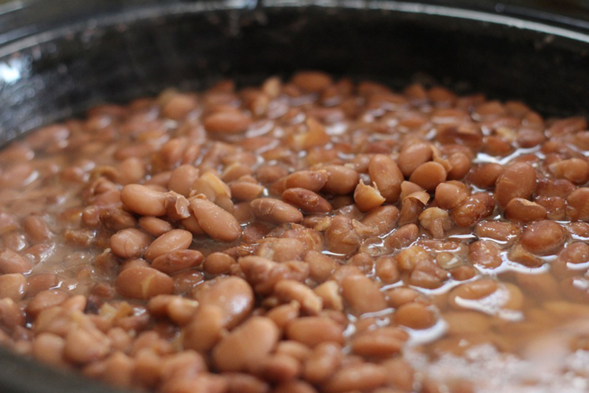 Pinto beans cooking in a crock pot always smell so good!