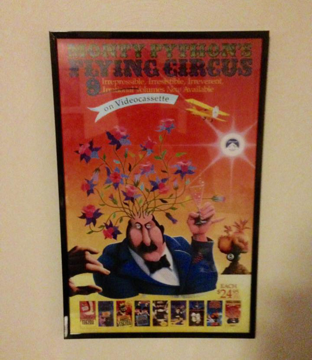 For this poster, my son used stick-on nails for hanging. The frame already had a saw-tooth hook on the back.