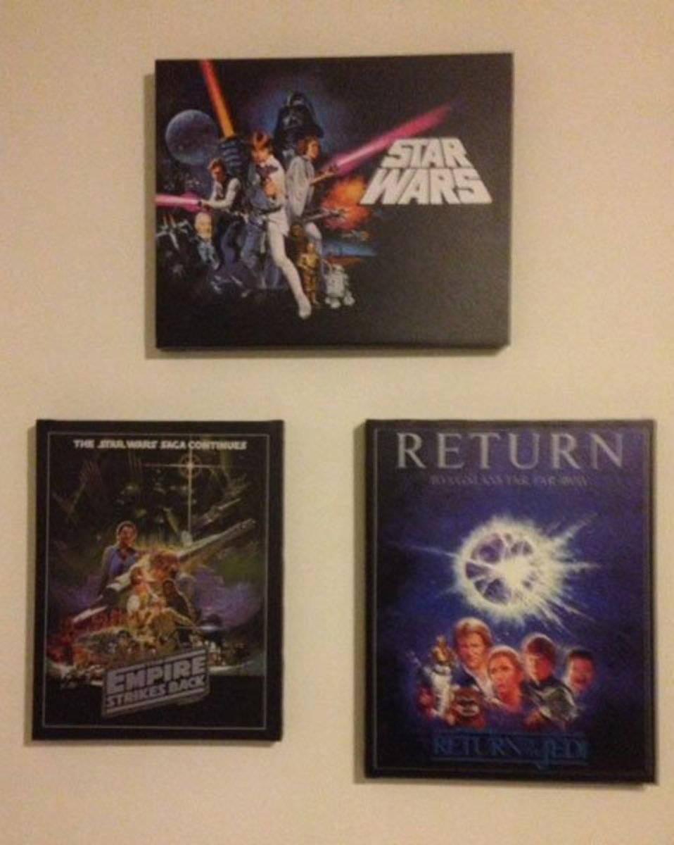These are canvas posters displayed in my son's man cave. They are all stretched over a mounting frame. Canvas posters are usually bought this way, and are hung without a outside frame.