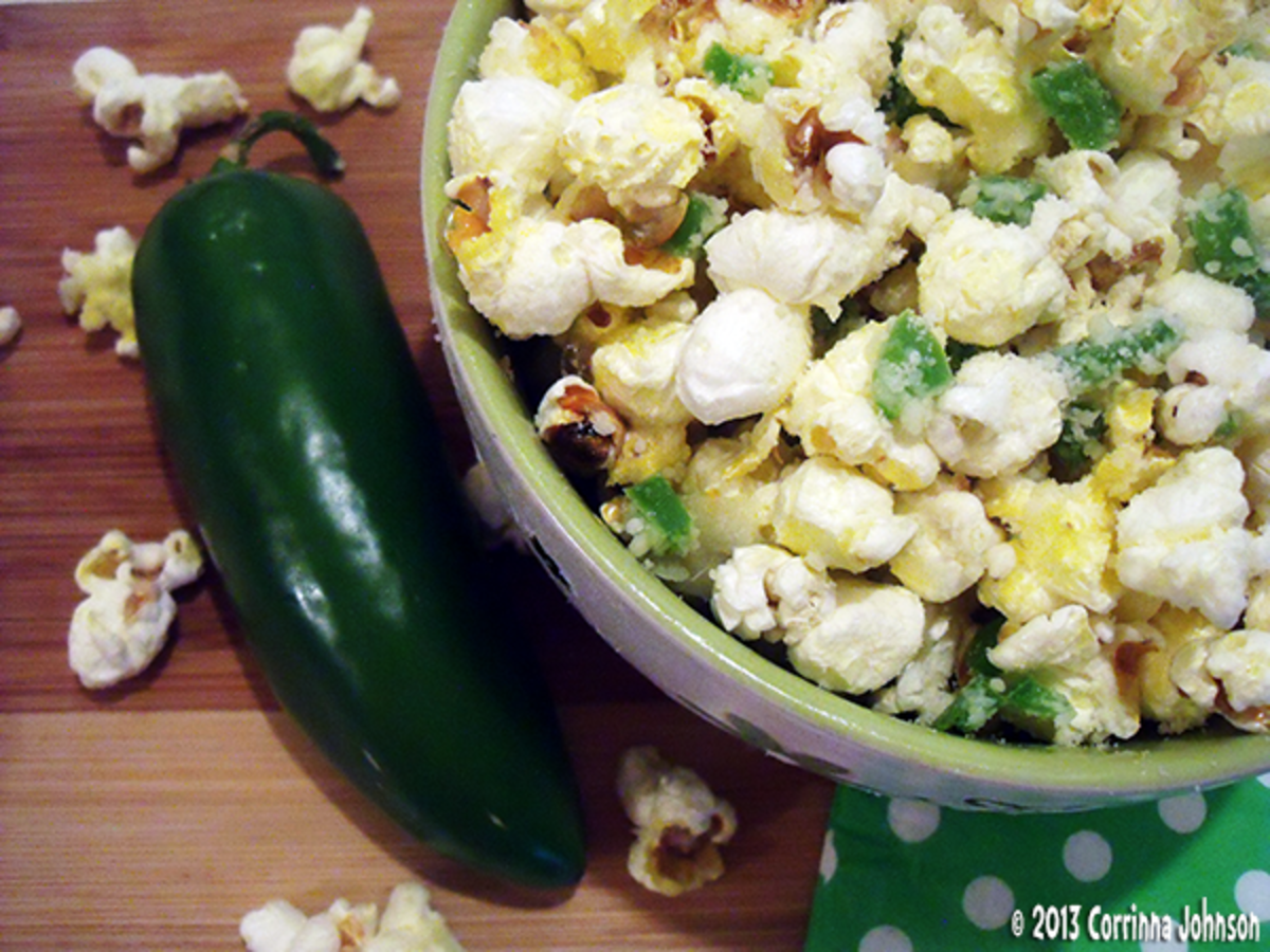 jalapeno, garlic, and parmesan cheese popcorn