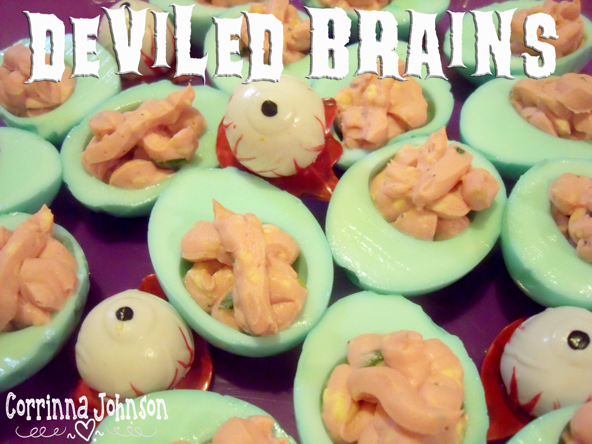 Creepy, Gory Halloween Deviled Brains (Eggs)