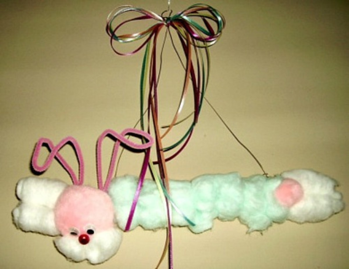 Hanging Cotton Ball Bunny