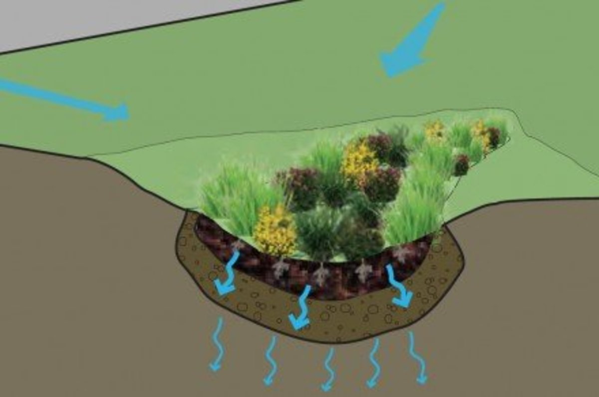 No pipes or swales are needed to guide rainwater if it already follows a path to a lower area of a property.