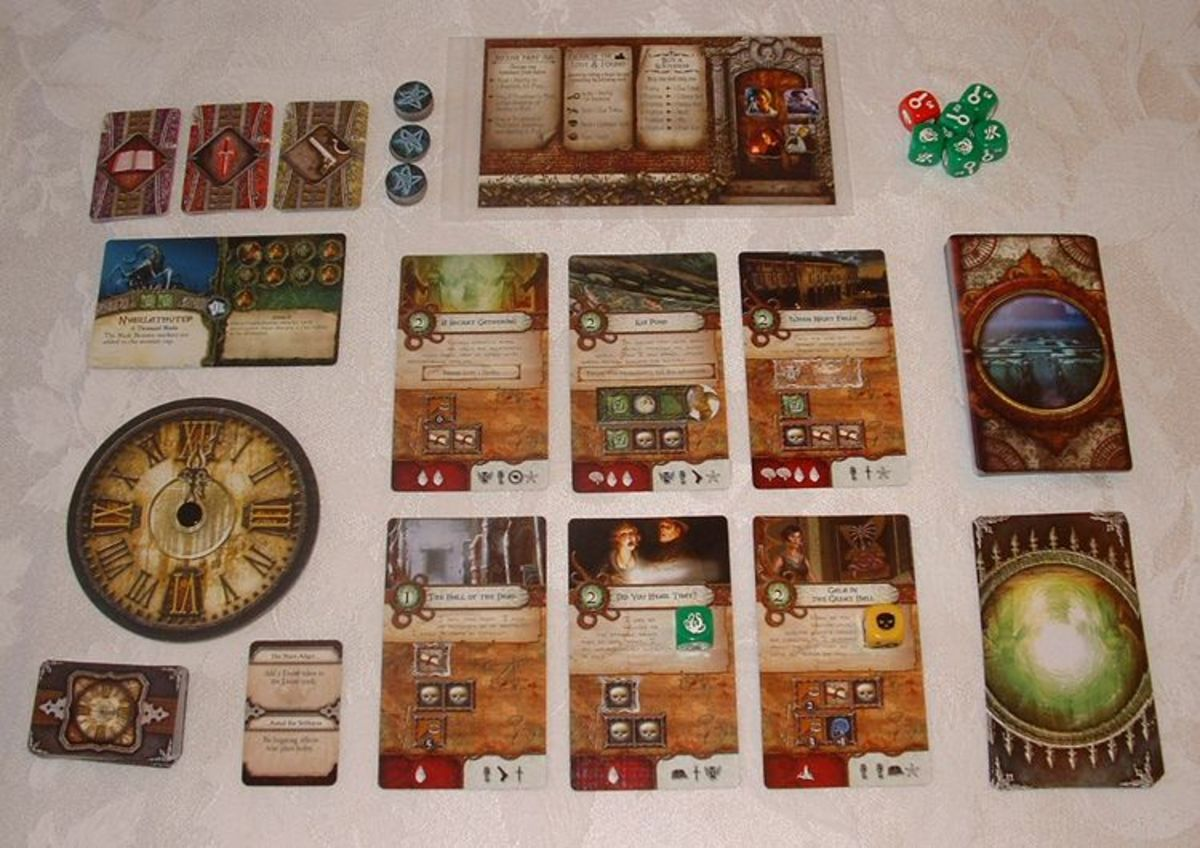 Elder Sign, fantasy board game: cards and dice