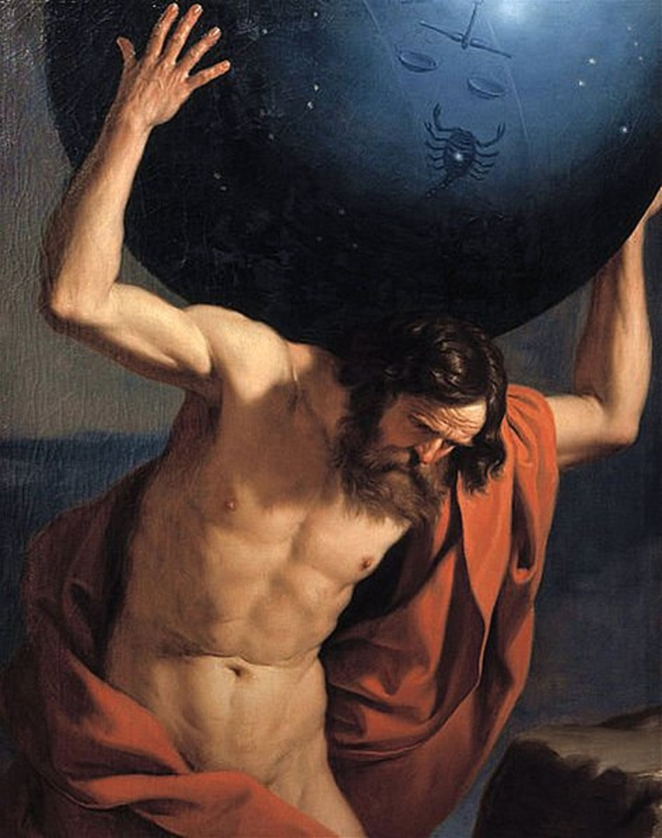 Atlas holding up the celestial globe - Guercino (1591–1666)  PD-art-100