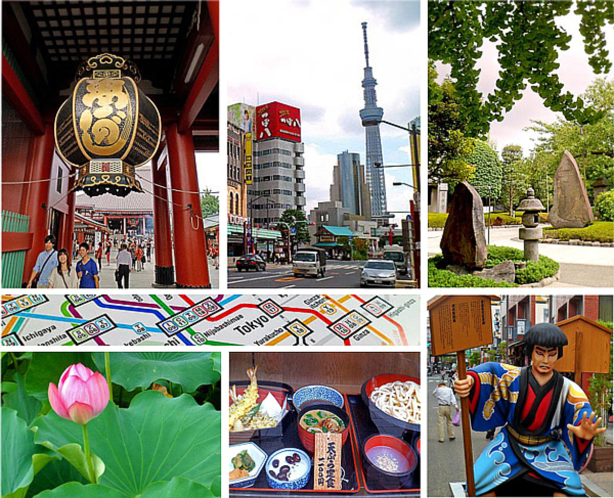 Clockwise from top left: Sensoji Temple, Tokyo Skytree, Ueno Park, samurai in Asakusa, Japanese cuisine, lotus blossom.