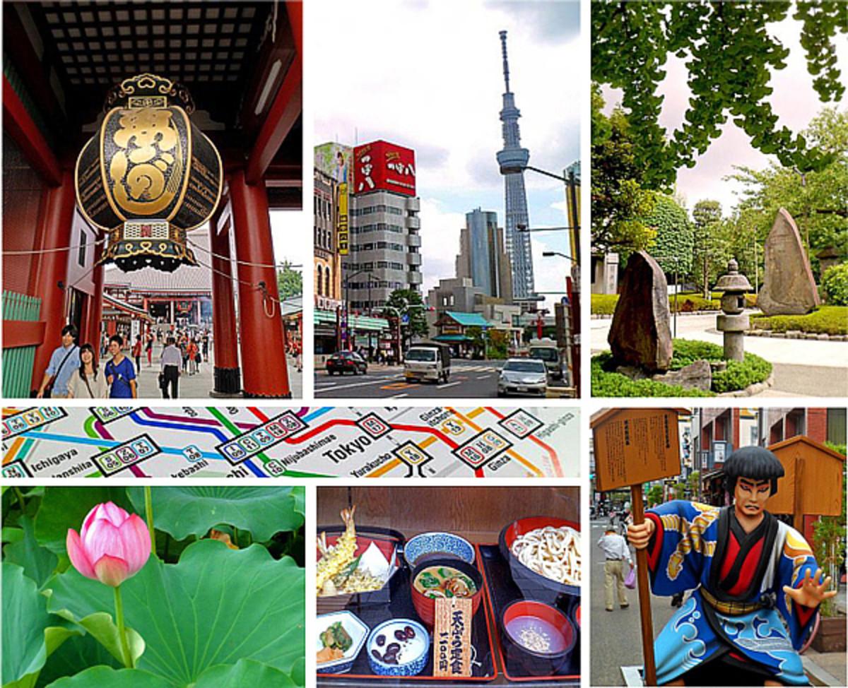 Clockwise from top left: Sensoji Temple, Tokyo Skytree, Ueno Park, samurai in Asakusa, Japanese cuisine, lotus blossom.