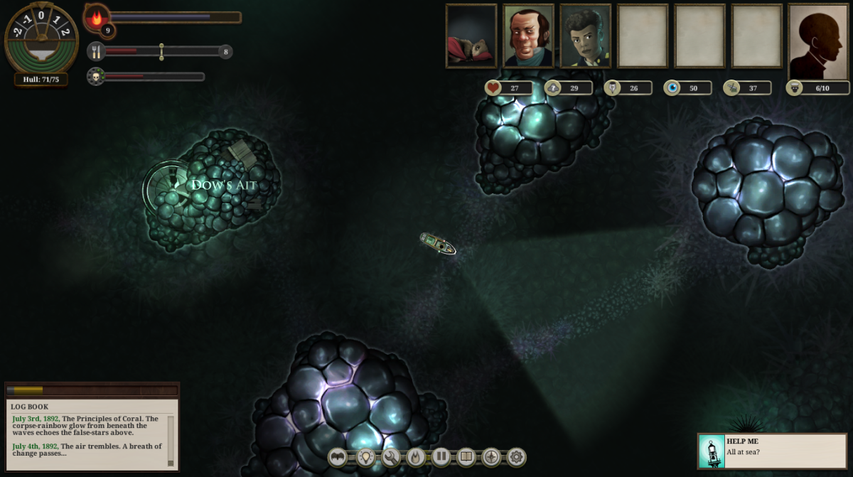 The player explores the Principles of Coral in Sunless Sea.