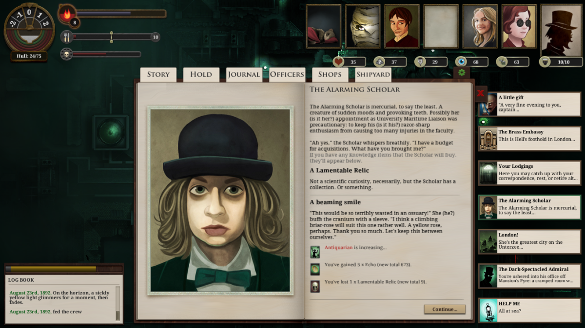 Sunless Sea Walkthrough: The Alarming Scholar