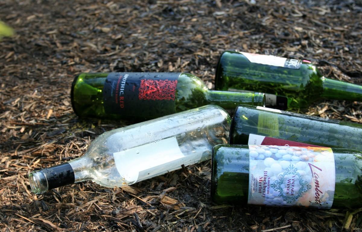 Empty bottle puddles.