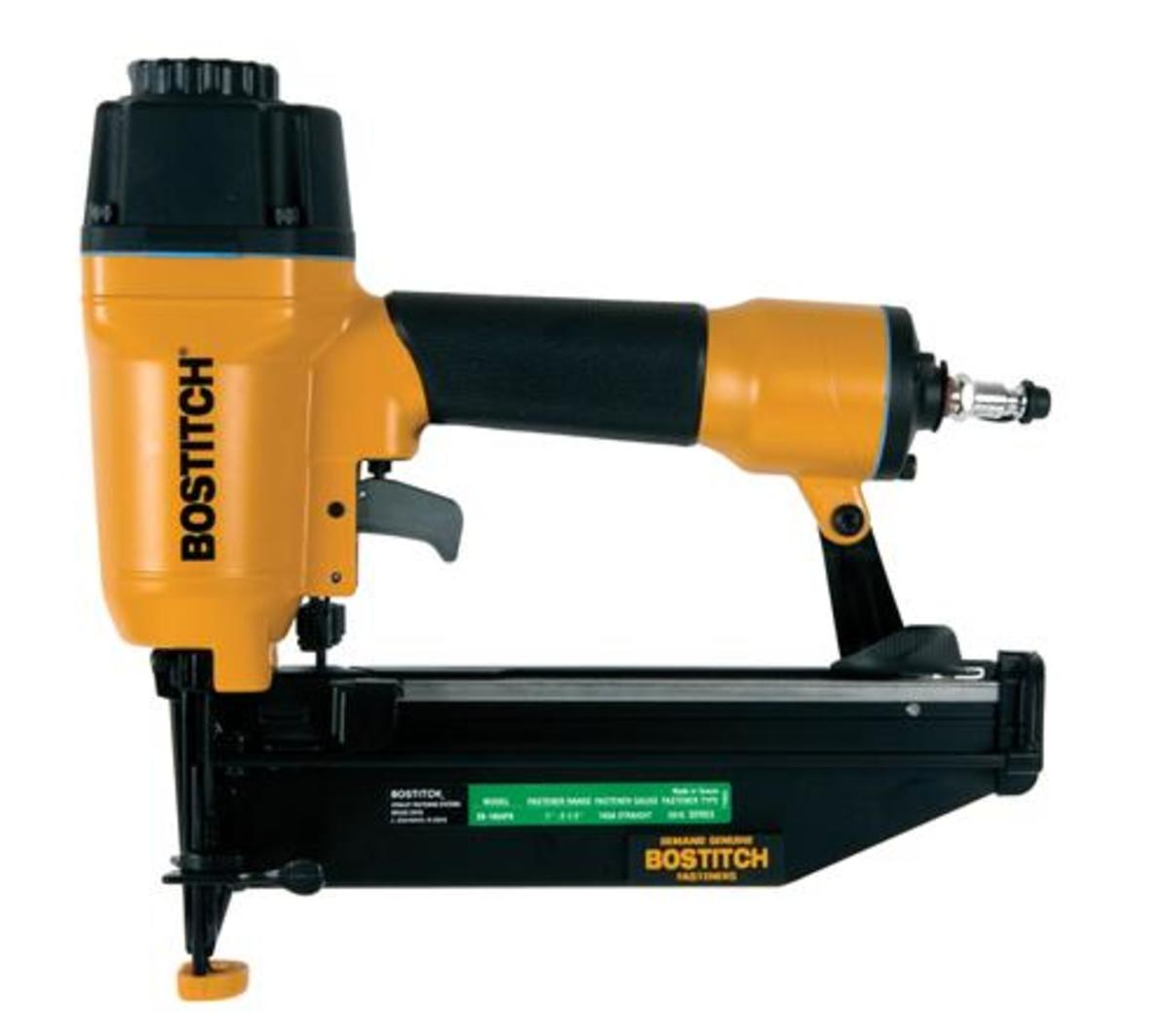 Bostitch 16-gauge straight finish air nailer kit.