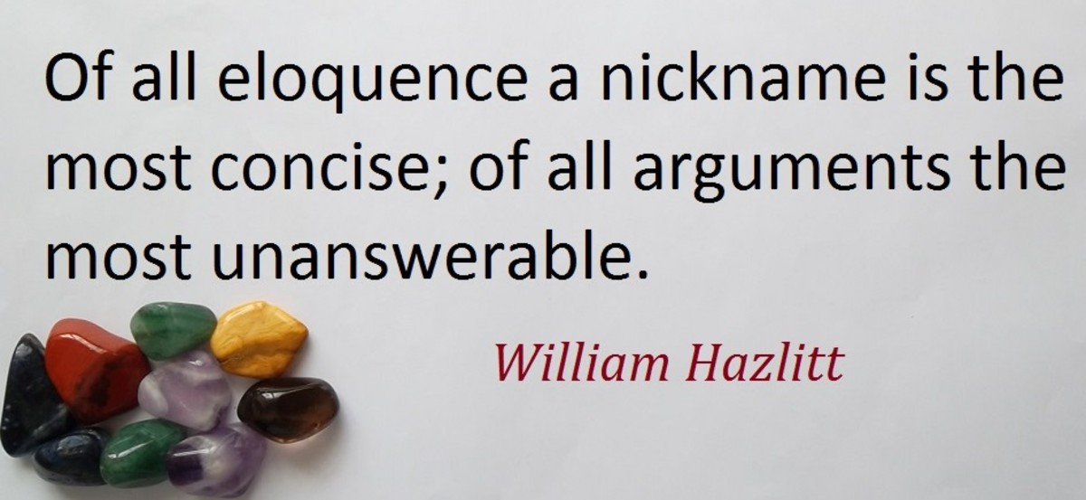 William Hazlitt born 1778 to 1830 was a famous English writer, critic and philosopher.