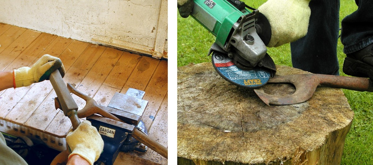Sharpening a hoe using a stone or alternatively an angle grinder.