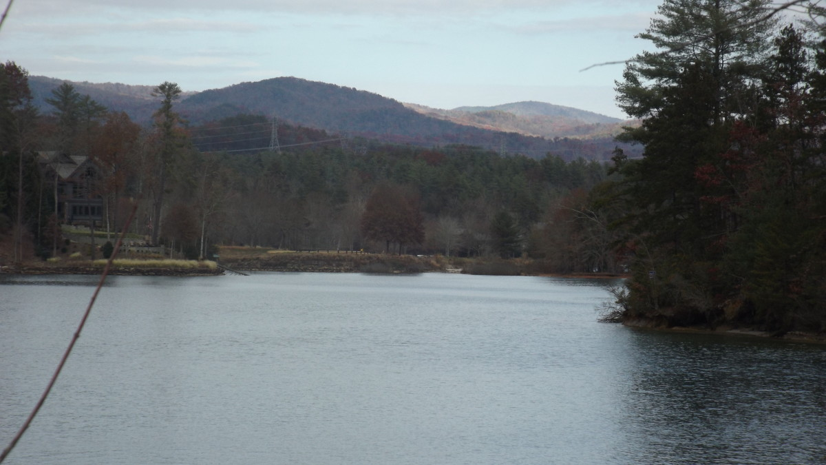 Mountain view from canoe launch parking