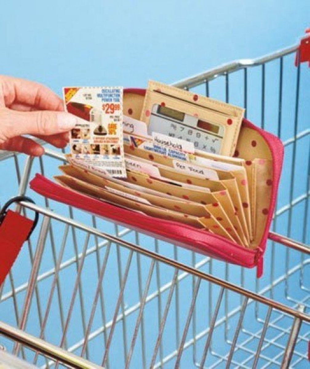 Buxton organizer. Coupon wallets are a great way of storing your coupons. You can put coupons that are close to their expiry date in a separate pocket and organize the rest according to category of food, or which store they relate to.