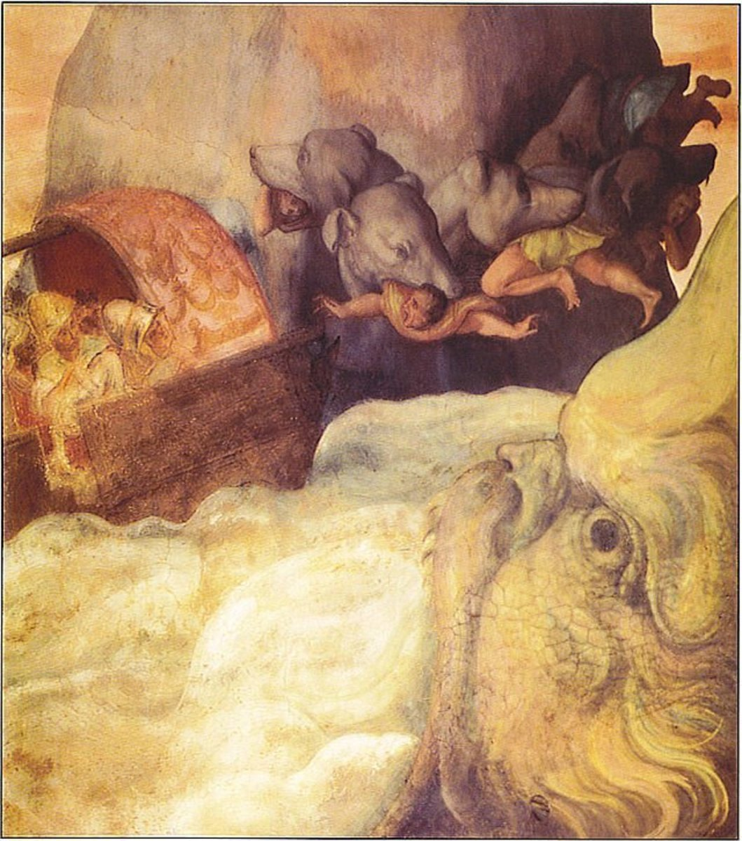 Fresco - Odysseus's boat passing between the six-headed monster Scylla c1560 PD-art-100