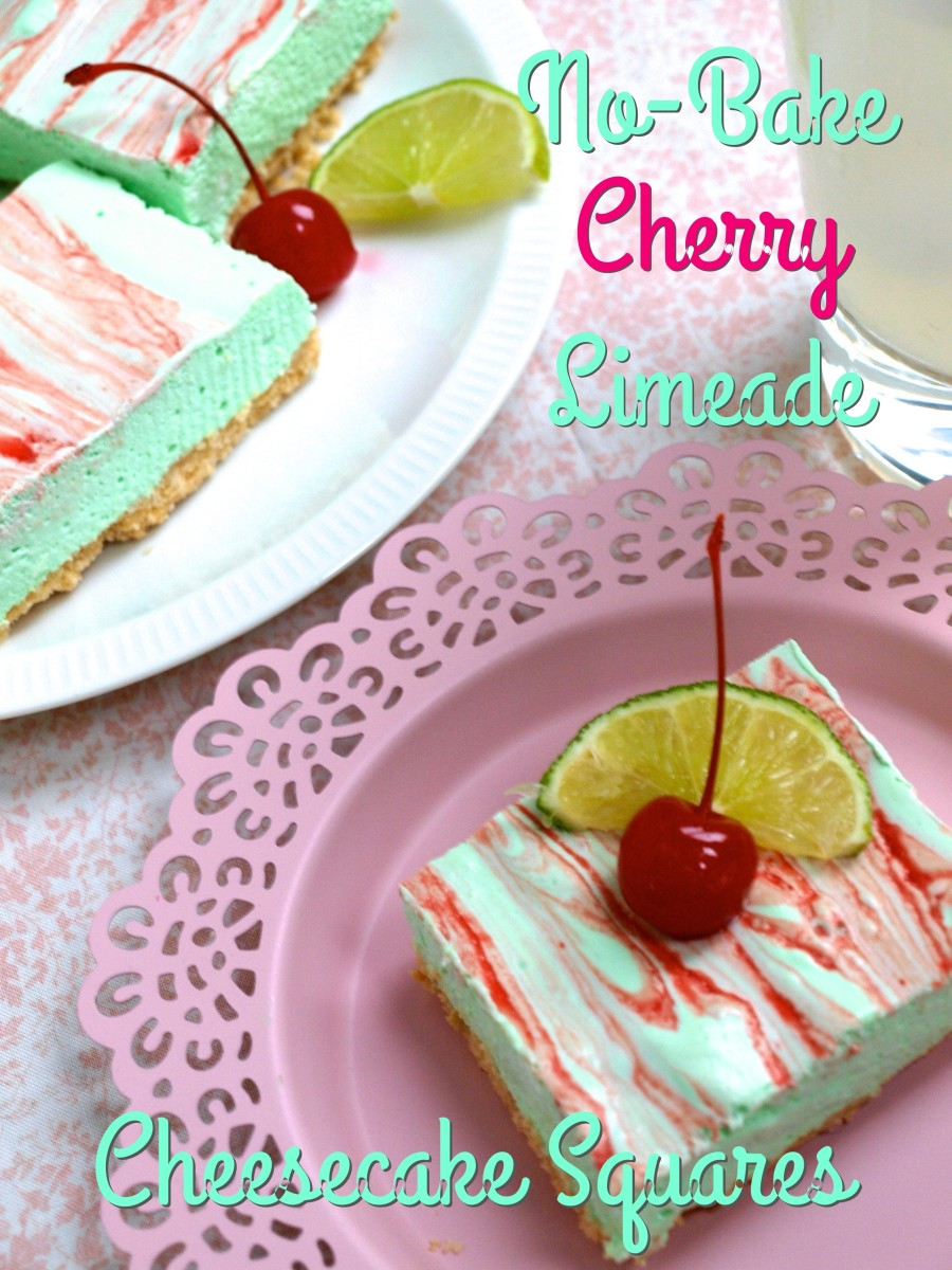 Easy no-bake cherry limeade cheesecake squares are a delicious and refreshing treat.