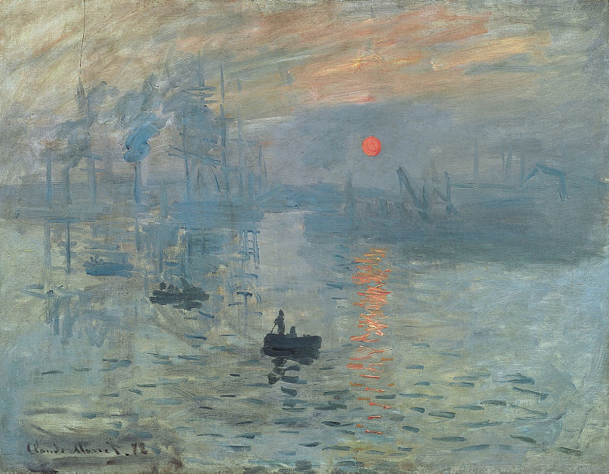 Claude Monet's 1872 oil on canvas entitled Impression, soleil levant - Impression, Sunrise - which is said to be where the whole idea of Impressionism comes from