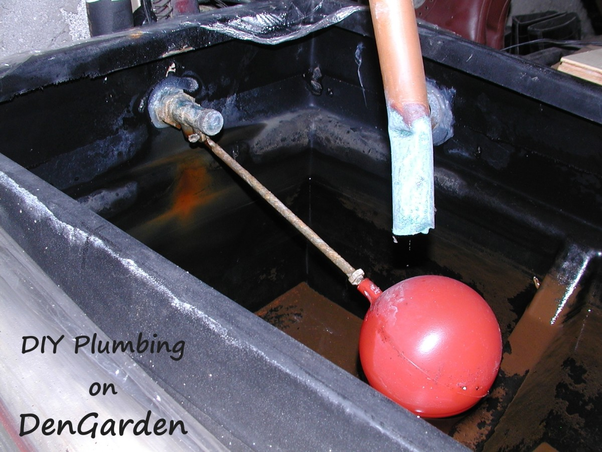 Ballcock in a water tank. The red float attaches via an arm to the valve. Once the water level rises sufficiently, the arm pushes on the valve, closing it