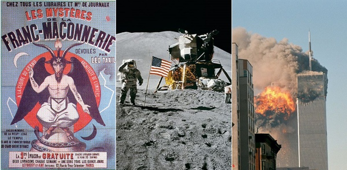 Some popular conspiracy theories, featuring an anti-masonic poster, the moon landings, and the September 11th attacks. Public domain, except: