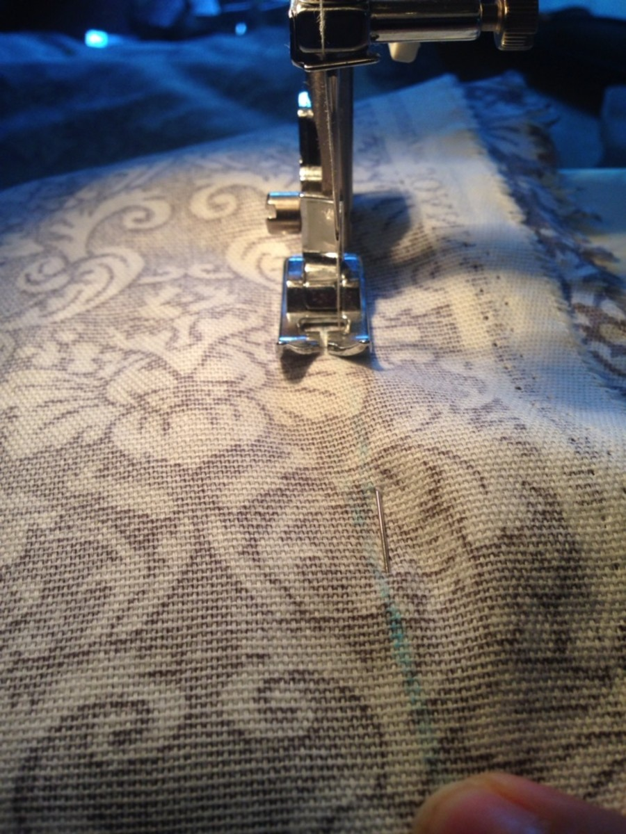 Sewing along the blue sew line.