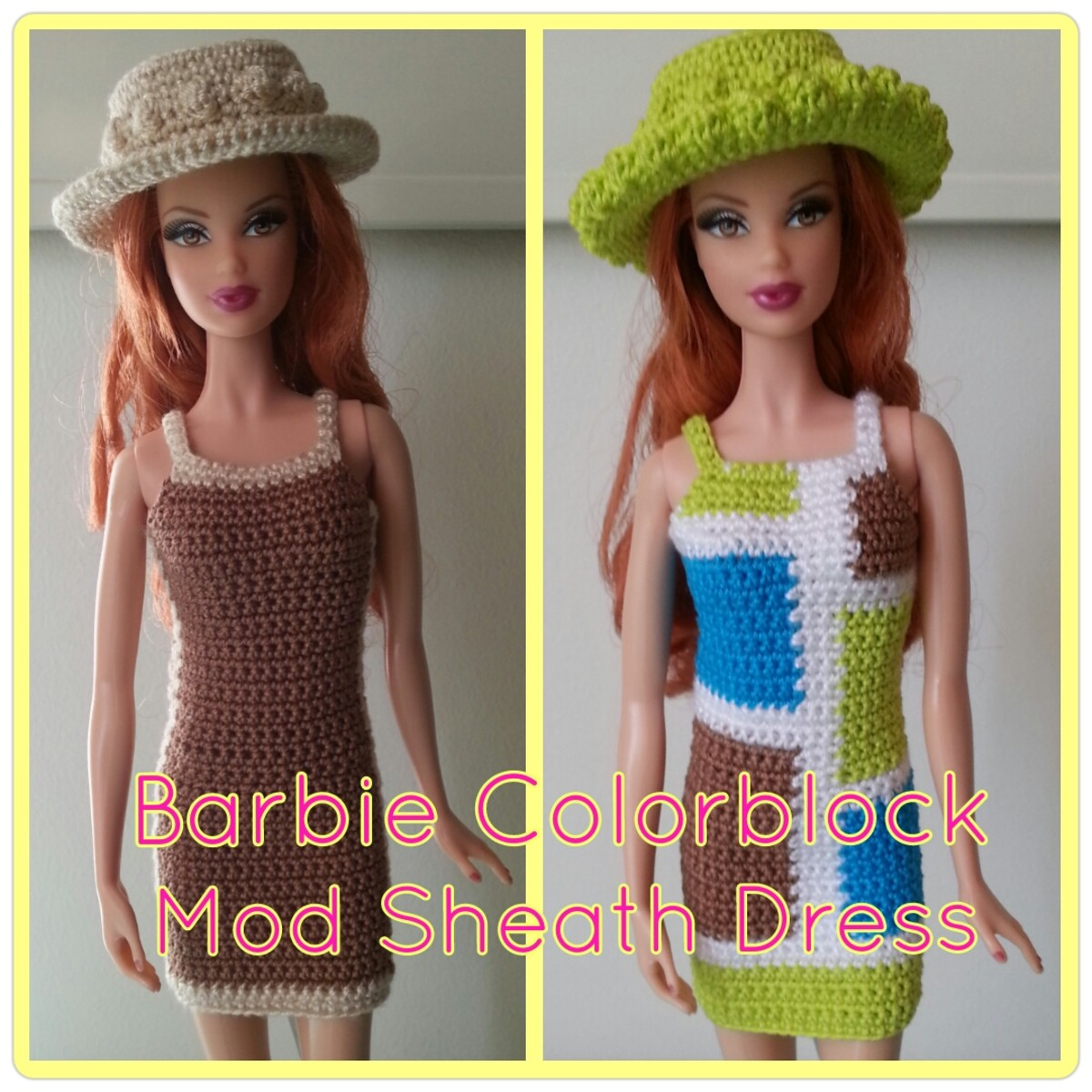 Barbie Colorblock Mod Sheath Dress (Free Crochet Pattern)