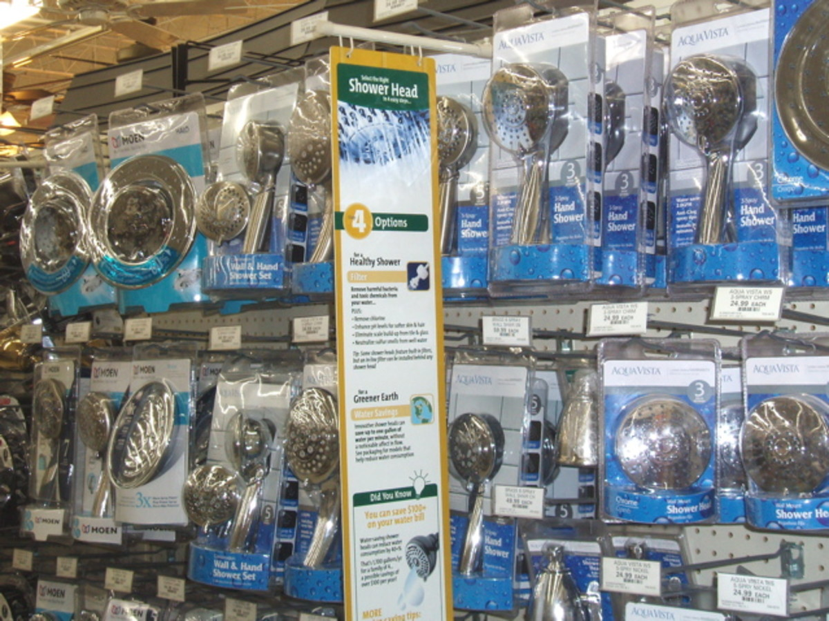 Hardware store shelves full of different types of showerheads give you lots of options.