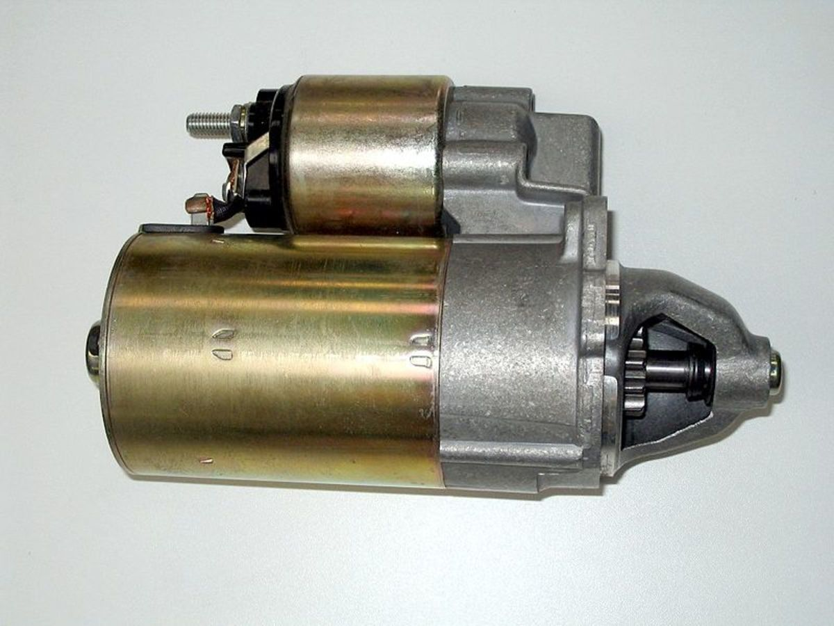 Typical automotive starter motor.