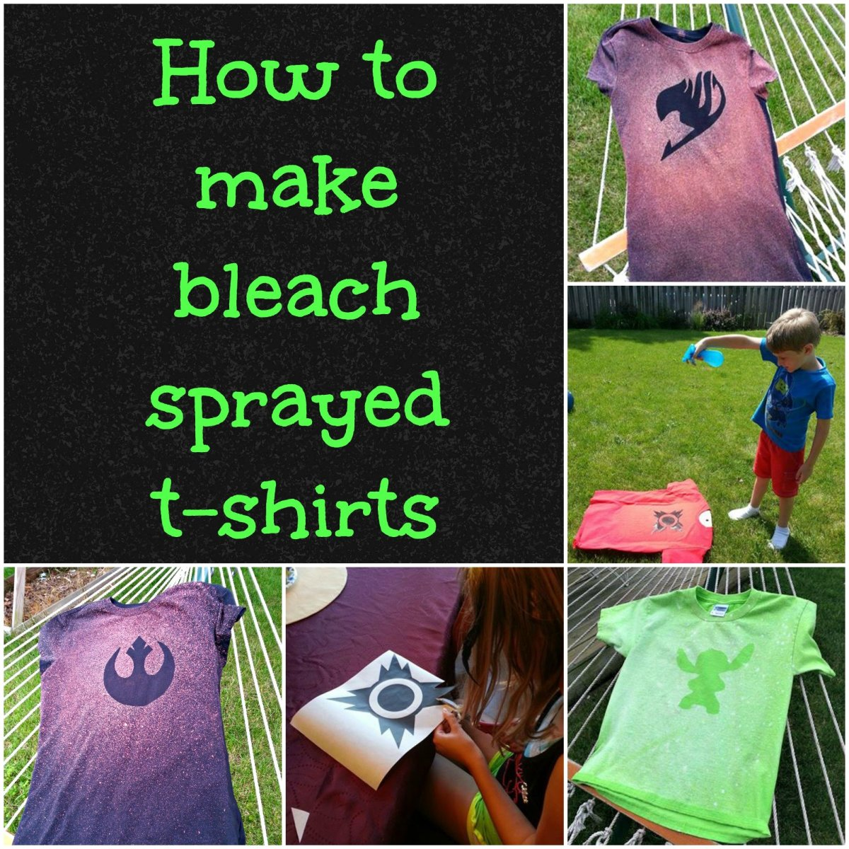 Easy and fun to make...bleach sprayed t-shirts!!!