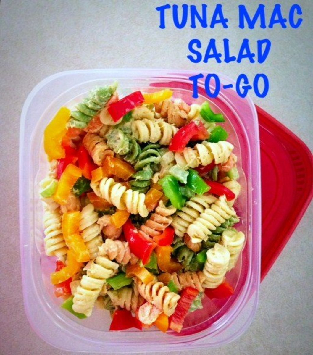 Tuna Mac Salad with chopped red, green and yellow peppers