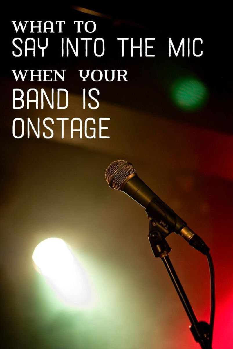 Usually the lead singer takes care of speaking into the mic between songs. There's some essential business that every professional (or amateur) band should take care of.