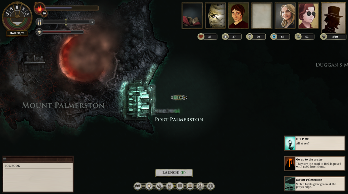 The player visits Mount Palmerston in Sunless Sea.
