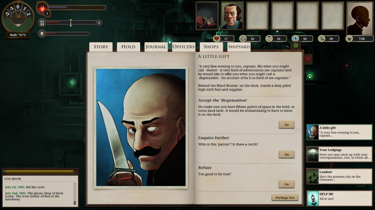 The player encounters the Blind Bruiser in Sunless Sea.