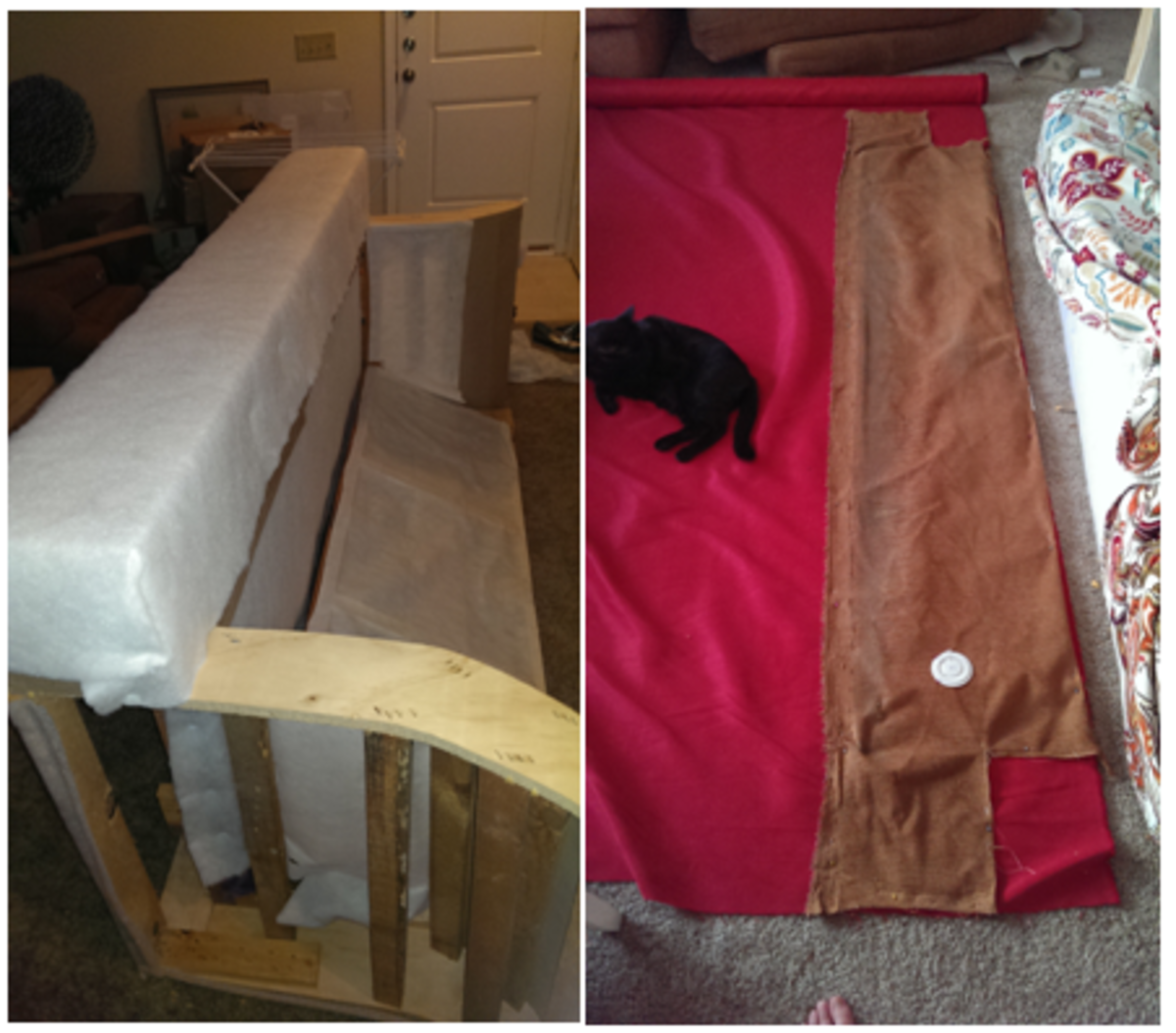 putting on the batting for the foot of the couch, and zeus helping me re-measure the fabric from the bottom of the couch so I got the right shape.