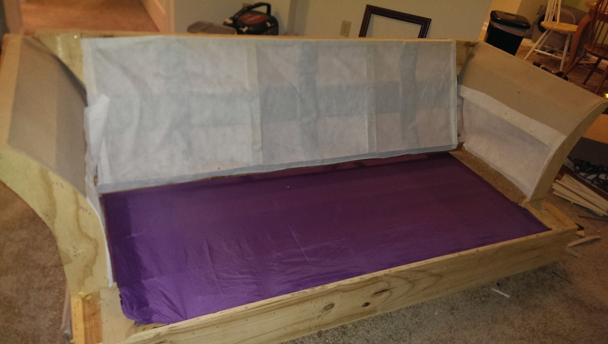 The purple sheet was used to cover the springs.