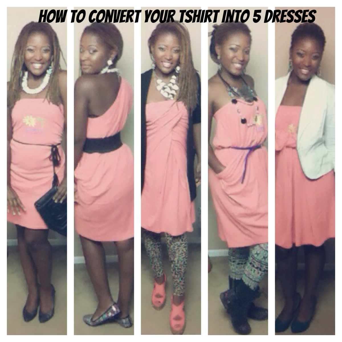 How to Convert a Basic T-Shirt Into 5 Dresses (No Sewing)