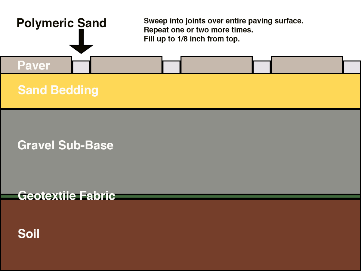 Cross section of poly sand application between concrete pavers.