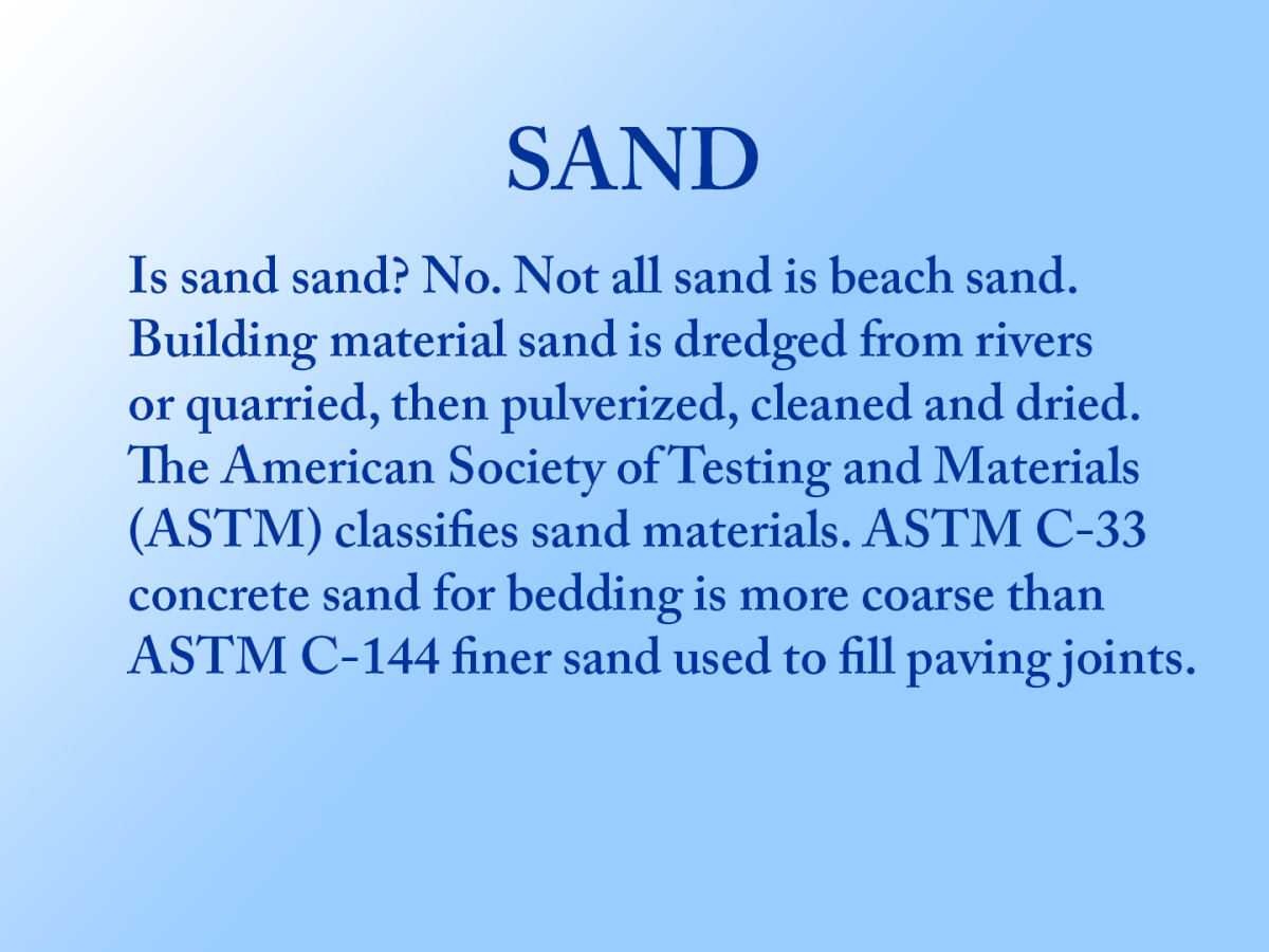 Definition of two ASTM types of building sand