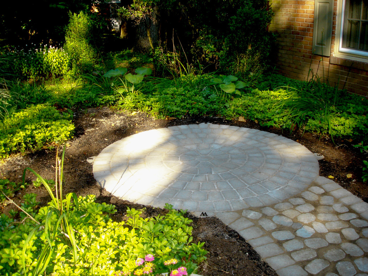 Our completed paver patio and walkway. It's time to add landscape lighting, plant more, and set up outdoor furniture.